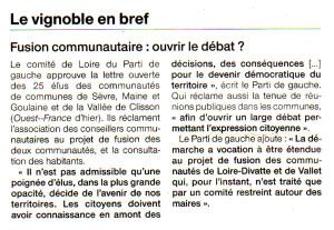 Article dans Ouest France du 02 mars 2016